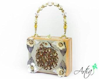 Swarovski crystal leaf brooch box purse