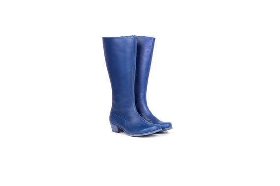Boots Leather Blue handmade winter women's wide Boots shipping free ADIKILAV riding heels xFAwBqYSA