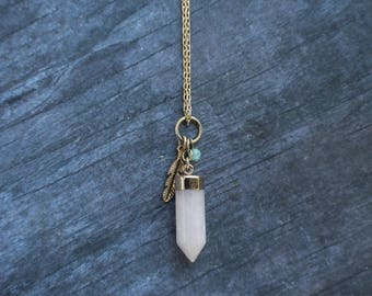 Rose Quartz Necklace, Rose Quartz Point, Gemstone Charm Necklace, Bohemian Jewelry