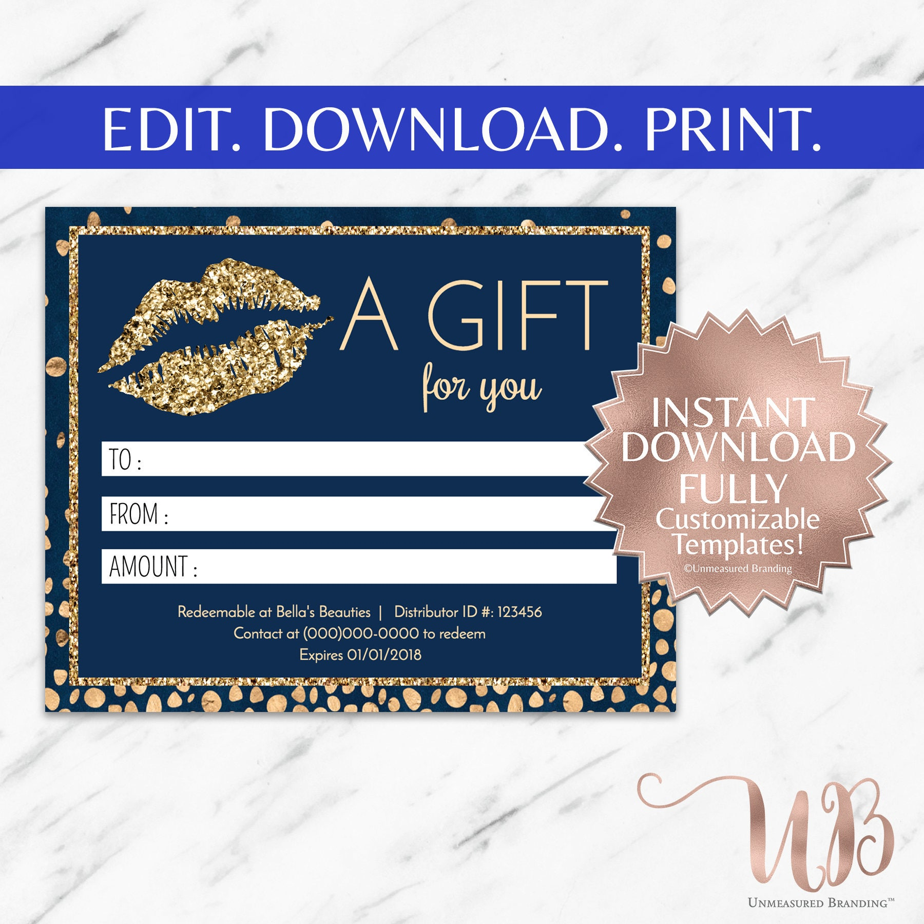 Navy Blue And Gold Glitter LipSense And Makeup Gift Certificate Template - Makeup gift certificate template