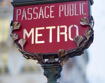 Parijs Metro Foto Art Nouveau Metro teken, kunst aan de grote muur, Frans Home Decor, Fine Art Travel foto, Gallery Wall Art