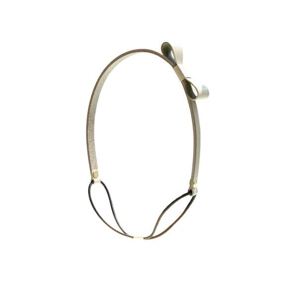 Genuine Leather Bow Headband - Taupe