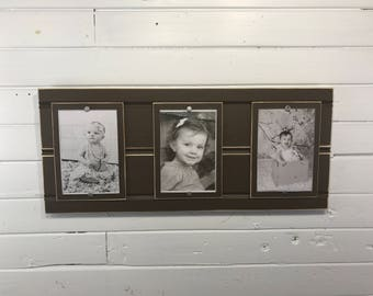 Distressed wood collage picture frame triple 4x6 CUSTOMIZABLE