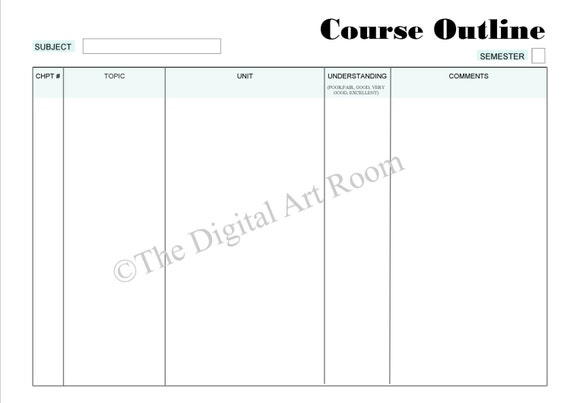 Printable Student Planner Course Outline A4 A5 Size