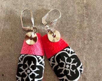paire de boucles d'oreilles - effet carreaux de ciment et dégradé de rouge - nouvelle collection