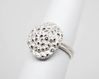 Lychee ring, silver fruit ring, fruit jewellery, food and drink, textured ring