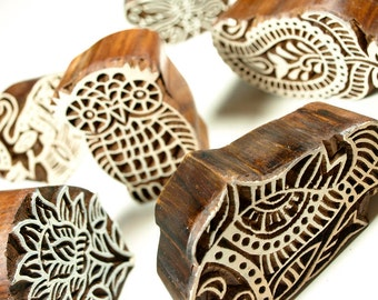 Hand-Carved Wooden Indian Stamp Blocks
