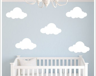 Clouds Vinyl Wall Decal Fluffy Clouds Decals Vinyl Wall Decals Clouds Nature Children Kids Nursery Decals Bedroom Decals Housewares
