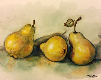 """Original Watercolor Painting print, Pears, 8""""x10"""", 1701271"""