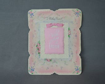 Vintage Holiday Easter Card to Mother Dearest, 1940s large 10x8 inches, Pink Padded satin, Vintage Holidays, Novelty