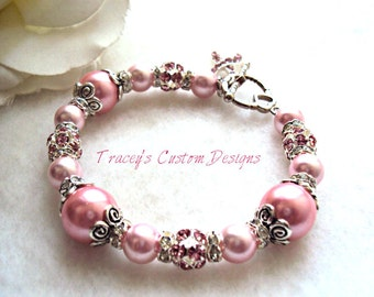 Stunning Breast Cancer Awareness Bracelet - CUSTOM MADE JEWELRY.