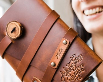 50% OFF Spring Sale...Adventure AWAITS Leather Journal...Fire Branded Refillable Leather Journal....Sale TODAY...Handmade in Portland