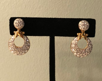 Swarovski Crystal and Gold Tone Circle Drop Earrings