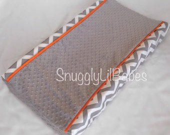 Grey chevron, orange changing pad cover with grey minky dot