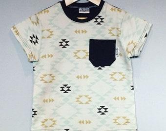 T-shirt aztek 2T coton bio marine