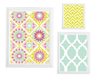 Collage Wall Art Gallery - Set of (3) - Prints - Custom CHOOSE your own size!!! Damask and geometric pattern blue mustard with Grey Art Wall