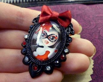 Handcrafted  Harley Quinn brooch // Fanart Gotham Girls  // Swarovski crystal // Handcrafted
