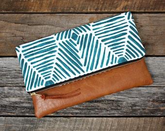Blue screen printed on cotton slub duck Foldover Clutch / Kindle Case