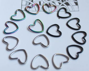 Heart earring piercing body jewelry cartilage helix tragus daith conch lobe