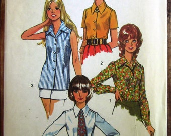 Misses Set of Blouses with Three Sleeve Lengths and Tie Size 12 Vintage 1970s Simplicity Pattern 5022 UNCUT