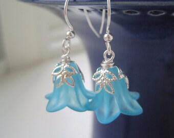 Bluebell Earrings - Lucite Flower Earrings - Pastel Earrings - Lucite Flower Jewelry - Something Blue Jewelry