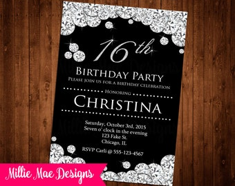 Custom Diamond Invitation - Birthday - Anniversary Party - Bridal Shower - Baby Shower - Retirement - Party