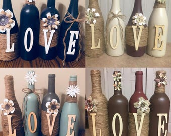 Wine bottle decor  Hand painted-love -Decorated wine bottles