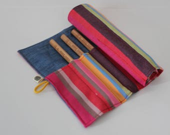 Pencil Roll, Pencil Case, Bright Striped Kikoy Organizer