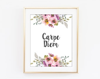 Carpe Diem Print, Seize The Day, Inspirational Typography, Colorful Flower, Motivational Modern Home Decor, Bedroom Art, Kitchen Decor Q66