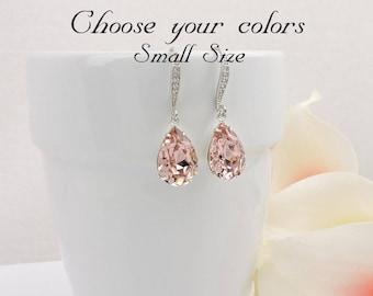 FREE US Ship Small Vintage Rose Swarovski Teardrop Bridal Earrings In Silver Swarovski Blush Bridal Earrings Blush Rose Crystal Earrings