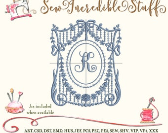 Single Initial Machine Embroidery Monogram Font in Victorian Floral Harp Frame
