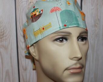 GiraffeCrossing,Men's Surgical Scrub Cap,Doctor's Scrub Hat, Chemo Cap, Biker's Hat