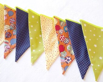 Bunting flags Fabric banner Flags banner Fabric garland Bunting garland Baby shower Fabric bunting flags