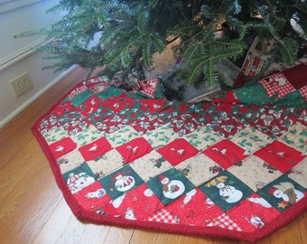 Patchwork Christmas Tree Skirt 45 inches by 46 inches