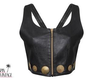 1990's Vintage Leather Crop Top