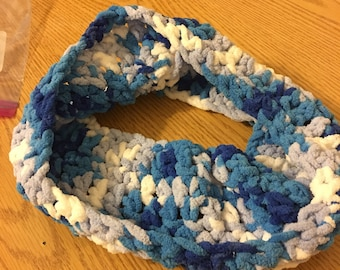 Blue and white cowl