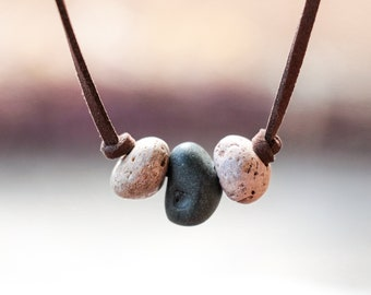 Sea stone pendant necklace lava stone necklace men jewelry beach stone jewelry beach pebble pendant women boho necklace beaded men necklace