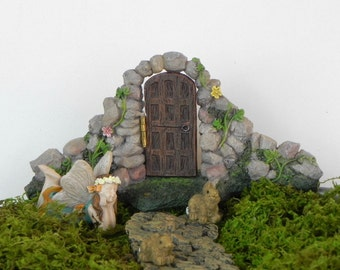 Mini Fairy Door, fairy garden, miniature fairy doorway, pathway path, fairy figurine, miniature bunny rabbits, Fairies Welcome sign, supply