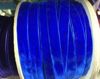 Velvet Ribbon - Royal Blue Velvet Ribbon 10mm ( 3/8 inches )
