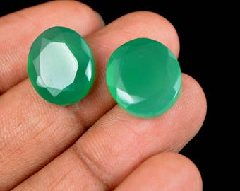 20.55 Ct Natural Oval Cut Green Onyx Emerald Loose Gemstone Matching Pair Christmas Gift