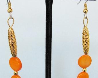 Orange Mother of Pearl Open Weave Drop Earrings