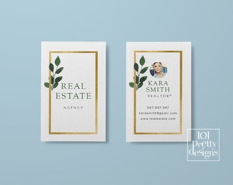 Realtor business card real estate business card design gold business card printable  business cards greenery watercolor house broker