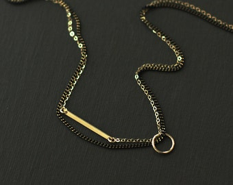 Gold Fill and Brass Choker Style Necklace