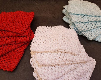"Wholesale 10 crochet headbands 5"" red,  blue, white Crochet Tube Top Tutu elastic Waistband"