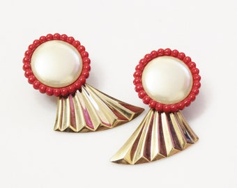 Red Gold Large Earrings, 1980's Earrings