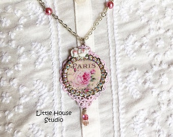 Paris Vintage Rose Necklace, Rose Necklace, Romantic Jewelry, Paris Rose, Porcelain Roses, Rose Jewelry, Rose Pendant, Vintage Rose