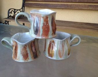 Glazed Pottery Mug, Stoneware Mug, Abstract Mug, Pottery Mugs, Textured Mug, Unique Mug, Abstract Shape Mug, Earthy Colors Mug, Clay Mug