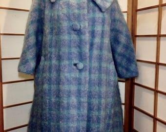 Lilli Ann Pendleton Plaid Blue/Purple/Mohair  and Wool Swing Coat Vintage 50's 60's