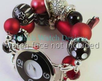 Crimson Tide... Grobstrick rot, schwarz und weiß austauschbaren Perlen Armband