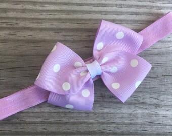 Lilac Headband / Lilac Polka Dot Bow /Baby Headband / Toddler Headband